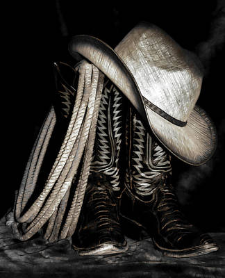 Photograph - Cowboy Boots And Hat by Athena Mckinzie