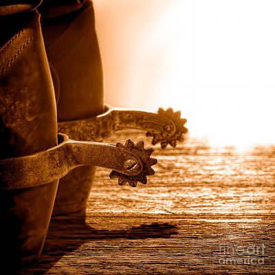 Cowboy Boots And Riding Spurs - Sepia Art Print
