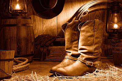 Photograph - Cowboy Boots In A Ranch Barn - Sepia by Olivier Le Queinec