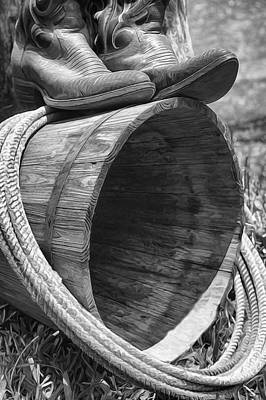 Mixed Media - Cowboy Boots In Black And White by Pamela Walton