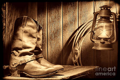 Movie Tees - Cowboy Boots in Old Barn by American West Legend By Olivier Le Queinec
