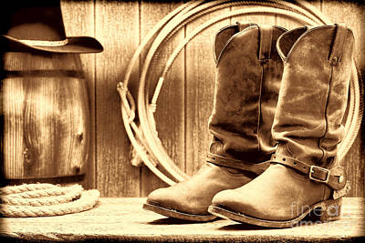 Photograph - Cowboy Boots On The Deck by American West Legend By Olivier Le Queinec