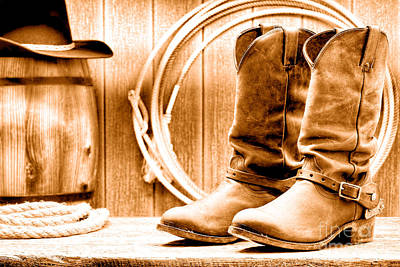 Vintage Barns Photograph - Cowboy Boots On The Deck - Sepia by Olivier Le Queinec