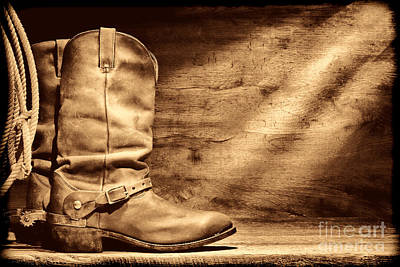 Photograph - Cowboy Boots On Wood Floor by American West Legend By Olivier Le Queinec