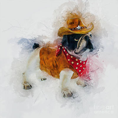 Painting - Cowboy Bulldog by Ian Mitchell