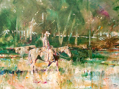 Cattle Roundup Painting - Cowboy Checking The Cattle by Kip Decker