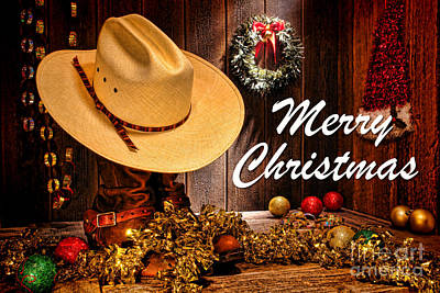 Photograph - Cowboy Christmas Party - Merry Christmas by Olivier Le Queinec