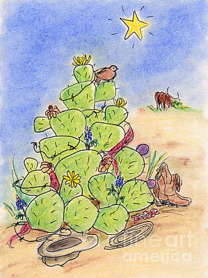 Drawing - Cowboy Christmas by Vonda Lawson-Rosa