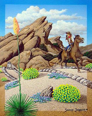 Alien Landscape Painting - Cowboy Concerns by Snake Jagger