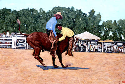 Bucking Bull Painting - Cowboy Conundrum by Tom Roderick