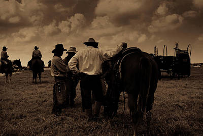 Cattle Drive Photograph - Cowboy Conversation by Toni Hopper