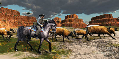 Cattle Drive Painting - Cowboy by Corey Ford