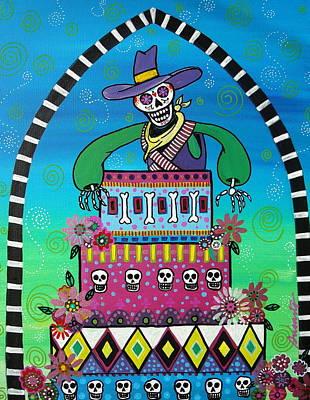 Cowboy Dia De Los Muertos Print by Pristine Cartera Turkus