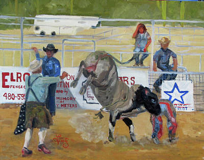 Rodeo Clown Painting - Cowboy Down by Charlotte Loetz