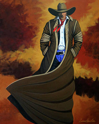 Contemporary Cowgirl Painting - Cowboy Dust by Lance Headlee