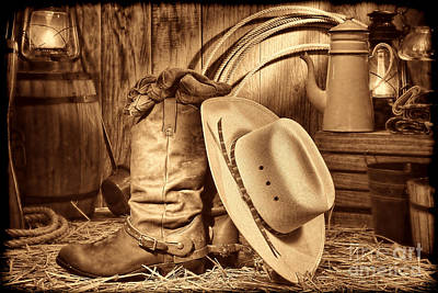 Photograph - Cowboy Gear In Barn by American West Legend By Olivier Le Queinec
