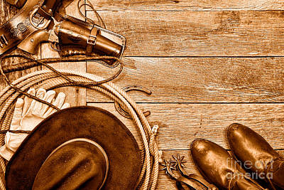 Cowboy Gear - Sepia Art Print by Olivier Le Queinec