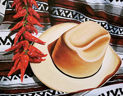 Cowboy Hat And Chili Peppers Original by Lillian Bell