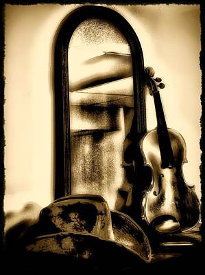 Cowboy Hat And Fiddle Art Print by Bill Cannon