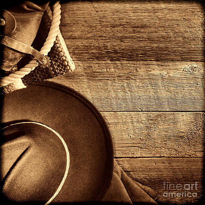 Cowboy Hat And Gear On Wood Art Print