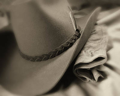 Leather Photograph - Cowboy Hat And Gloves by Tom Mc Nemar
