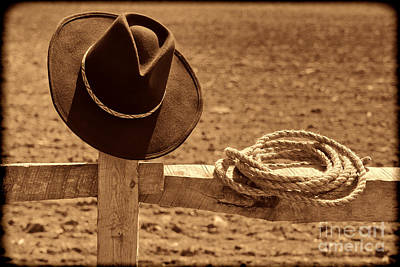 Cowboy Hat And Rope On A Fence Art Print