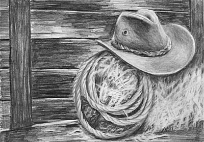 Cowboy Hat In A Barn Art Print by Nolan Clark