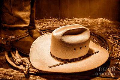 Cowboy Hat Photograph - Cowboy Hat On Barn Floor - Sepia by Olivier Le Queinec
