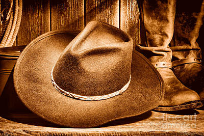 Stetson Photograph - Cowboy Hat On Floor - Sepia by Olivier Le Queinec