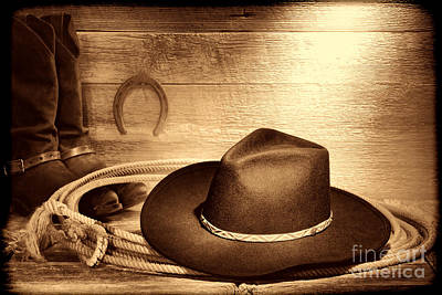 Photograph - Cowboy Hat On Lasso by American West Legend By Olivier Le Queinec