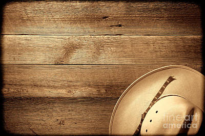 Photograph - Cowboy Hat On Wood Table by American West Legend By Olivier Le Queinec