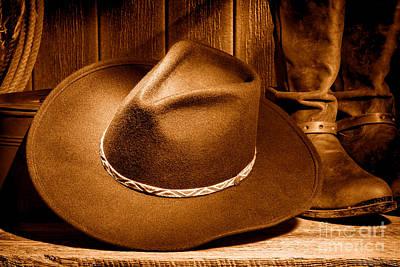 Photograph - Cowboy Hat - Sepia by Olivier Le Queinec