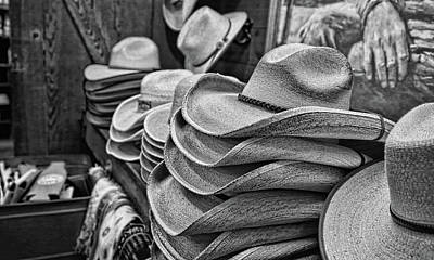 Photograph - Cowboy Hats Black And White by Judy Vincent