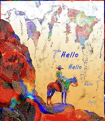 Cowboy Hello - Vintage Cowboy And Western Illustration Art Print by Rayanda Arts