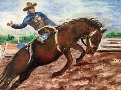 Painting - Cowboy In A Rodeo by Lucille Valentino