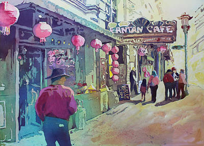 Columbia Mixed Media - Cowboy In Chinatown by Jenny Armitage