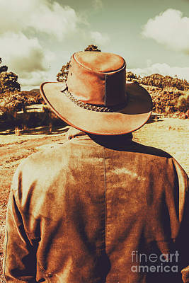 Mans Hat Photograph - Cowboy In Hat Looking Outback by Jorgo Photography - Wall Art Gallery