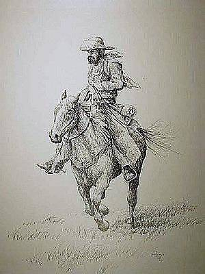 Drawing - Cowboy by Kevin Heaney