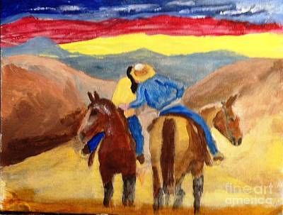 Painting - Cowboy Kisses Cowgirl by Joe Hagarty