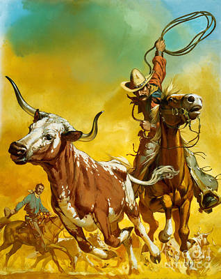 Longhorns Painting - Cowboy Lassoing Cattle  by Angus McBride