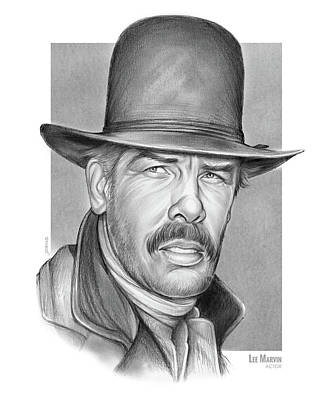 Drawing - Cowboy Lee Marvin by Greg Joens