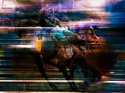 Bucking Bronco Painting - Cowboy by Mark Courage