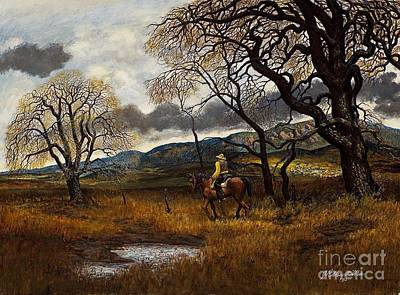 Colorado Painting - Cowboy On Cherryvale Road by James Robert MacMillan