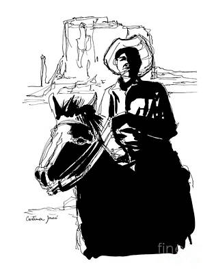 Cowboy On Mountain Art Print by Cristina Jaco