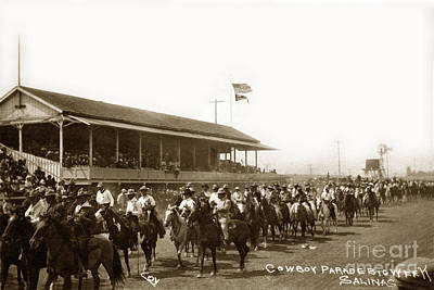 Photograph - Cowboy Parade Big Week, Salinas, Calif. Circa 1915 by California Views Mr Pat Hathaway Archives