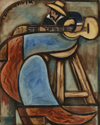 Cowboy Playing Guitar In  Albuquerque New Mexico Art Print Original by Tommervik