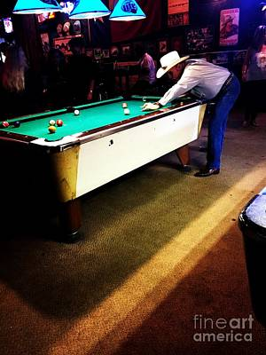 Portrait Photograph - Cowboy Playing Pool by Venus