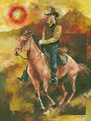 Painting - Cowboy Riding His Horse by Christiaan Bekker