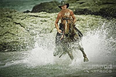 Photograph - Cowboy Riding Horse Across The River by Dimitar Hristov