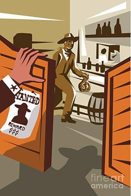Thief Digital Art - Cowboy Robber Stealing Saloon Poster by Aloysius Patrimonio